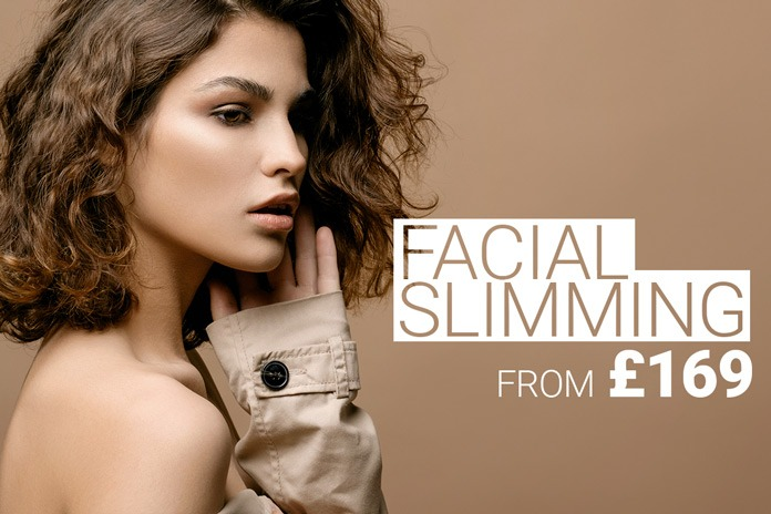 Model in profile with slim facial features. Facial slimming with anti-wrinkle treatment from £ 169 by M1 Med Beauty UK.