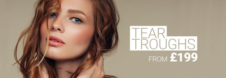 Model with perfect skin and beautiful eyes, without dark circles and tear troughs. Tear trough filler treatment by M1 Med Beauty.