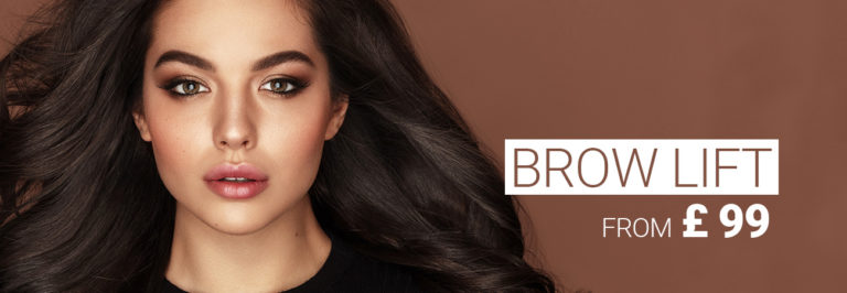 Model with dark hair and perfectly curved eyebrows. Brow lift treatment by M1 Med Beauty UK.