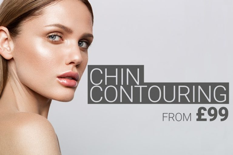 Model with beautiful chin contour, chin augmentation treatment with dermal filler from £ 99 by M1 Med Beauty UK