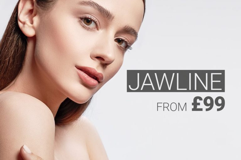 Young woman with contoured jawline, dermal filler treatment for a contoured jawline.