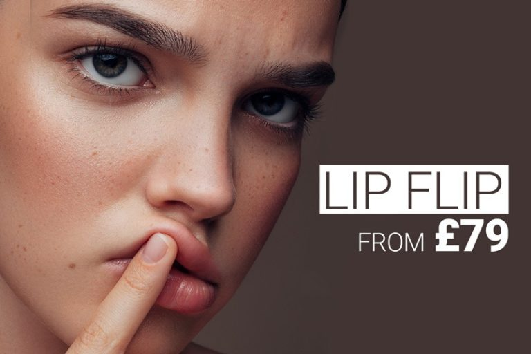 Model playing on her lip, lip flip treatment with anti-wrinkle injections prevents the lip from rolling up when laughing.