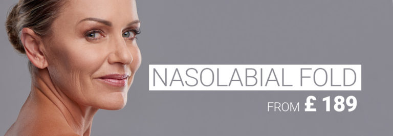 Very good looking model with grey hair and slight nasolabial folds when smiling, nasolabial folds treatment with dermal filler from £ 129.