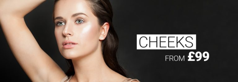 Model with beautiful cheeks, cheek enhancement with dermal filler from £ 99