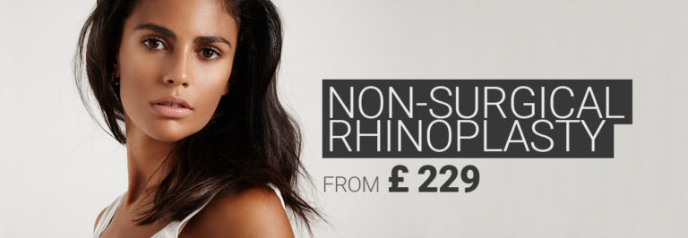 Beautiful dark-haired woman with straight nose, nose job using dermal filler from £ 199.