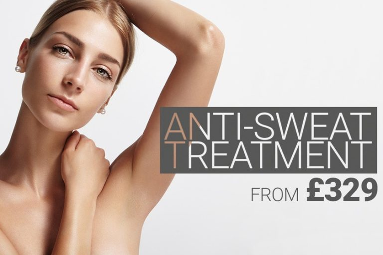 Model shows her dry armpit without sweat stains. Anti-wrinkle injections to prevent sweating from £ 329.